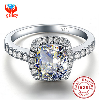 Hot Sale 100 925 Sterling Silver Big 4 Carat CZ Diamond Crystal Wedding Rings For Women