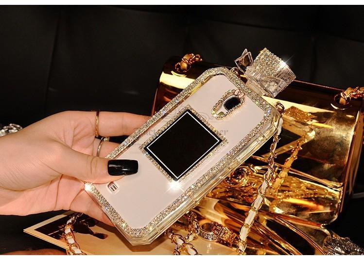 (NO LOGO)Diamond Rhinestone Perfume Bottle Case for iPhone 6/6s Plus 4/4S 5 5S 5SE SE for Samsung Galaxy S3 S4 S5 Note 3 4 Cover