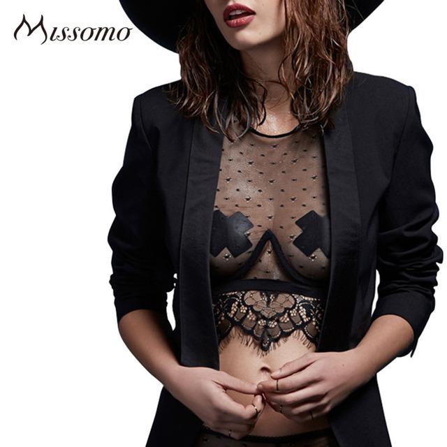 Missomo 2016 Новая Мода Женщины Сексуальное Отвесное Сплошной Черный Тюль Бюстгальтер Холтер Кружева Лоскутная Выдалбливают Бюстгальтер