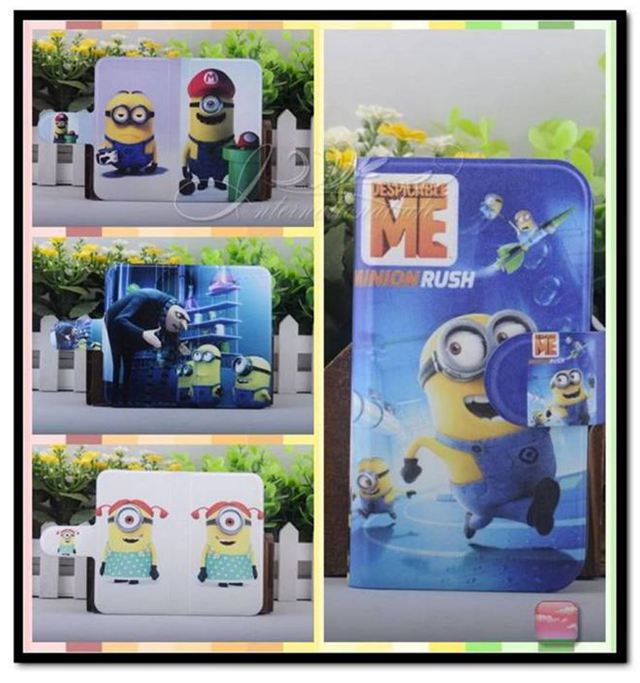 2015 Colorful Minions Funny Cartoon Despicable Me PU Leather Flip Case Cover for Samsung GALAXY SIII Mini i8190 i8190n(China (Mainland))
