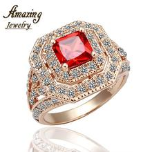 Free shipping brand Fashion Jewelry vintage big crystal CZ diamond ruby 18K rose Gold Plated lord