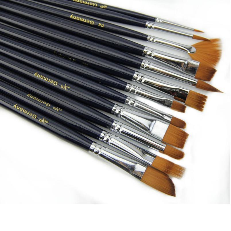 Гаджет  excellent quality watercolor 12pcs Hair Paint caneta Brush Set Artist acrylic paint Watercolor Acrylic Painting Supplies pen None Офисные и Школьные принадлежности