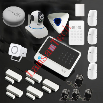 g90b wireless gsm wifi sms home alarm security burglar voice wifi alarm system smoke detector. Black Bedroom Furniture Sets. Home Design Ideas