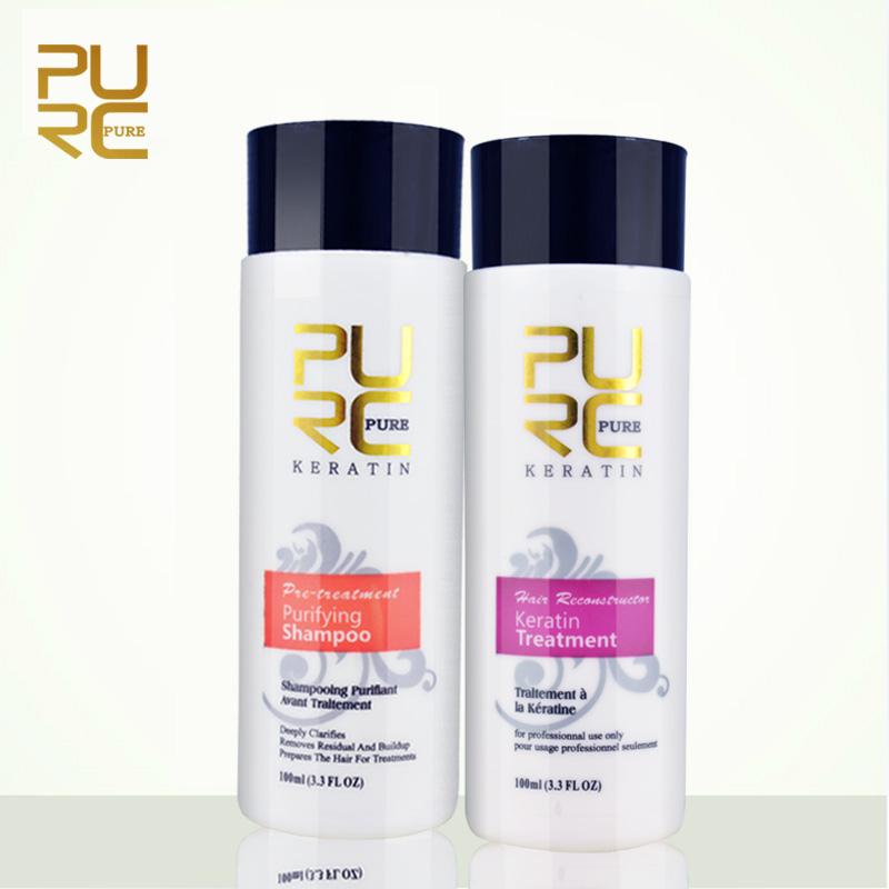 PURC Straightening hair Repair and straighten damage hair products Brazilian keratin treatment + purifying shampoo PURE 11.11(China (Mainland))