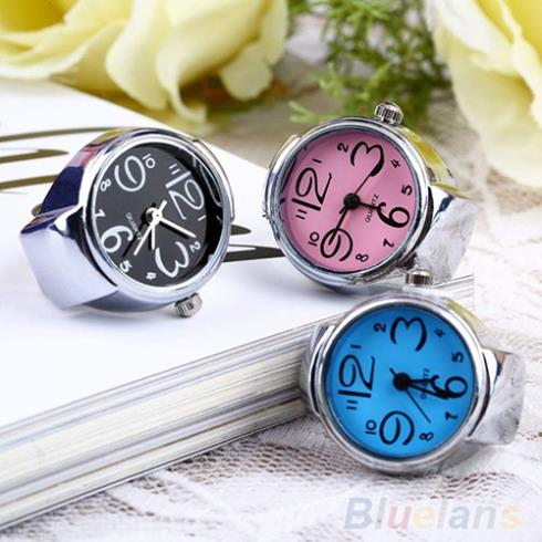 Creative Fashion Lady Girl Steel Round Elastic Quartz Finger Ring watch women 1D7F(China (Mainland))