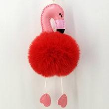 Flamingos bonito Encantador Chaveiro Meninas Pom Pom Keychain Fofo Artesanal Ornamento Mulheres Sacos Anéis Casal chave Pingentes Charme(China)
