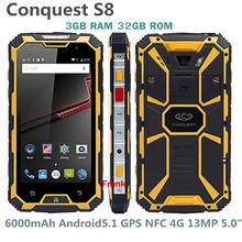 RunGee CONQUEST S8 IP68 Waterproof phone 6000mAh Battery GPS NFC PTT 4G LTE 13MP 3GB RAM 32GB ROM Quad core Runbo NO.1 x1 m2 a9(China (Mainland))