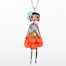 Neway doll necklace dress pendant coral trendy new 2015 acrylic alloy cute girl women flower figure