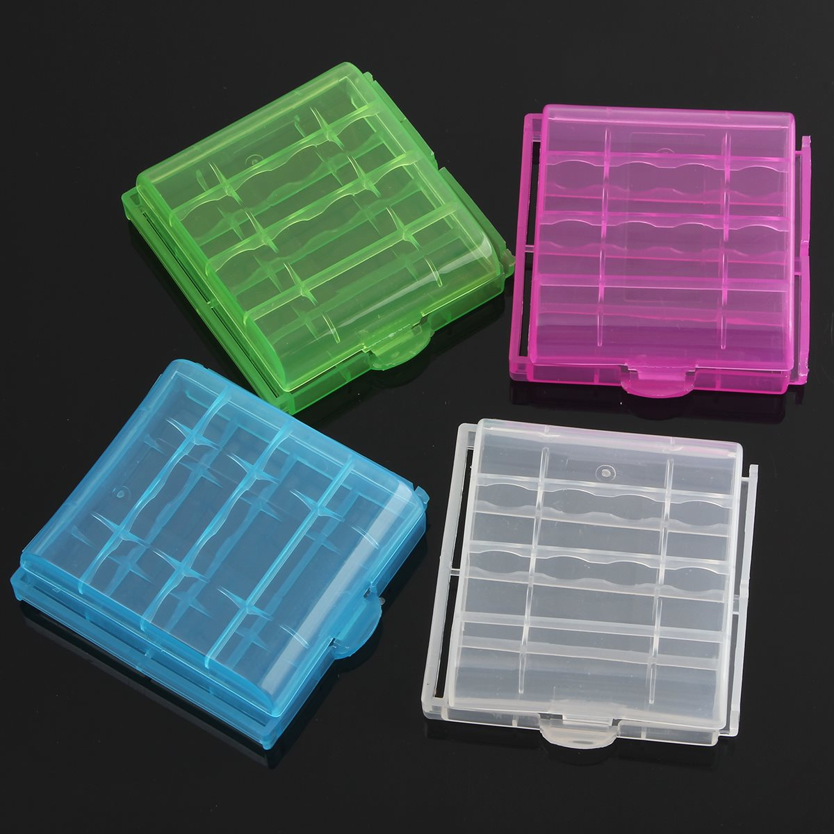 High quality 4 in 1 Semitransparent Durable Hard Plastic Case Holder Storage Box For 4xAA AAA Rechargeable Battery 6x6x2cm<br><br>Aliexpress