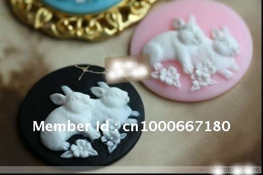 2012Newest~!European Flat Back Resin rabit pendants resin Flower,25*25mm mix color resin cameo/cabochon for jewelry decoration!!