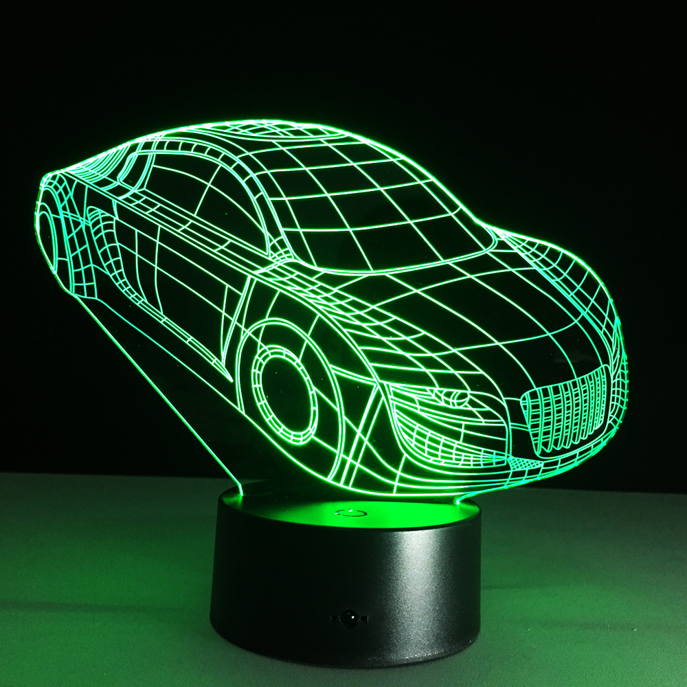 3D Deco Light Motor Car Automobile Shape USB Charge Touch Switch Lamp Colorful Kids Night Light(China (Mainland))