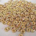 100pcs 3 6mm Gold Silver Copper Plated Crystal Rhinestone Round Spacer Loose Beads Shamballa Beads for