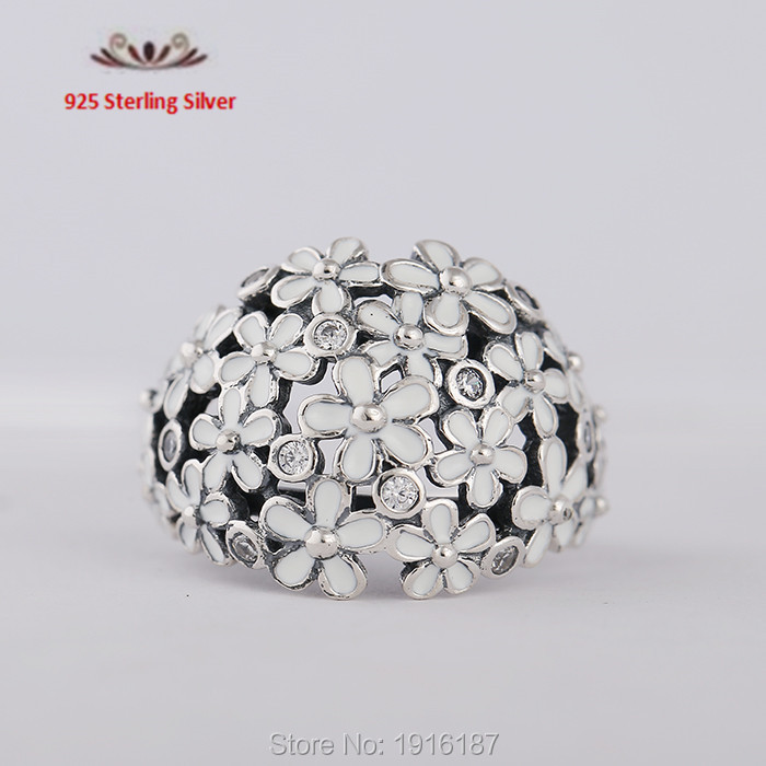 2015 newest  925 Sterling Silver Rings White enamel Daisy Bouquet Compatible with Pandora Fashion Jewelry<br><br>Aliexpress