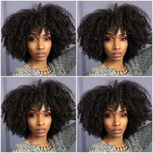 Buy Leisure Free Hairstyle Black Women Afro Kinky Curly Medium Wig Cap Combs Short Summer Synthetic Hair Lace Front Wigs for $43.50 in AliExpress store