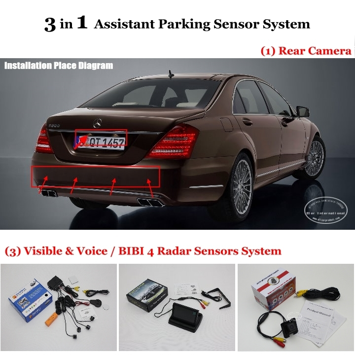 "For Mercedes Benz S W221 2006~2012 - 4.3"" LCD Screen + Rear View Camera + Parking Sensors = 3 in 1 Visual Alarm Parking System(China (Mainland))"