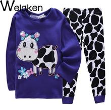 2016 Casual Long Sleeve Cotton Cartoon Dairy Cow Printed Girl Pijama Set Good Quality Soft Baby Costume Kids Girls Sleepwear(China (Mainland))