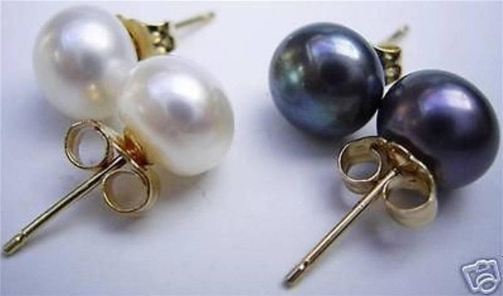 FREE shipping> >>>2 Pairs 9-10mm AAA White Black South Sea Pearl 14K gold earrings(China (Mainland))