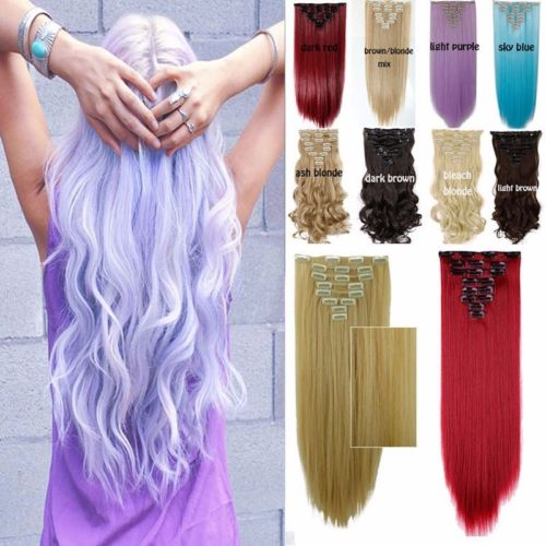 """8pcs/set 24"""" 155g 18 Clips in Hair Extensions Blue Purple Pink Brown 11 colors Synthetic Hairpiece Curly Wavy Fake Hair(China (Mainland))"""