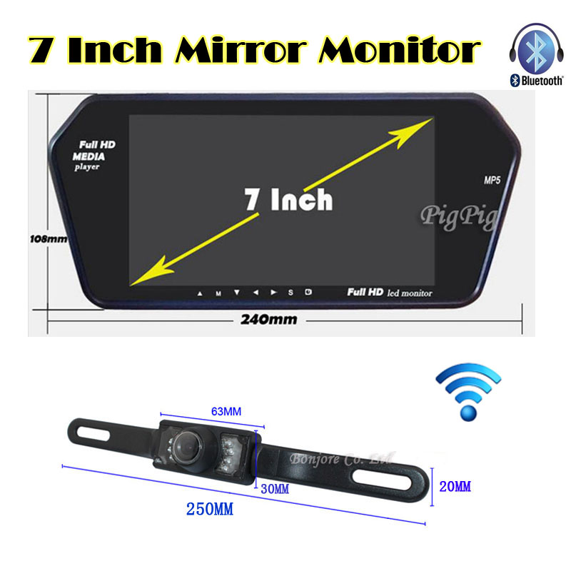 Parking Wireless 7'' TFT LCD Screen 1024*600 Mirror Monitor Bluetooth MP5 with USB/SD Slot car Rearview Camera infrared System(China (Mainland))