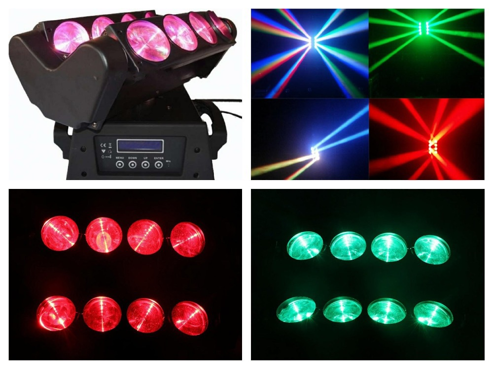 2pcs/lot, Beam Moving head spider light cree led RGBW 8x10W Quad Spider Lights LED Disco club china party dj stage bar wedding(China (Mainland))