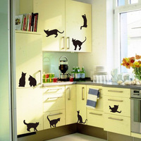 1pcs Black Cat wardrobe sticker Living room bedroom background Halloween Decorative Wall decals mural