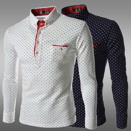 Sale sale 2015 autumn spring new fashion casual polka dot for Slim fit polka dot shirt