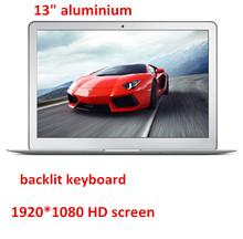 Aluminium ultrabook laptop computer backlit keyboard 13.3inch 1920*1080 HD screen Celeron 2957U 7000mAh battery USB 3.0(China (Mainland))
