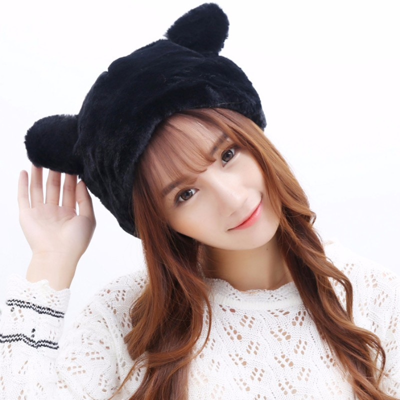 HT549 High Quality Faux Fur Scarf Luxury Women Scarves Winter Fur Hat Scarf Cute Ear Fur Beanie Caps Hats with Scarves Sets