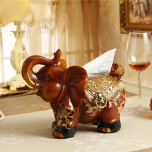 new upscale handmade resin elephant tissue box paper tray cute animal creative napkin holder stand home decorations ornaments(China (Mainland))