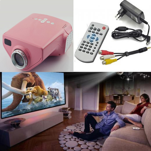 New 2014 pink color mini projetor cheap projector lumen projector data show projetor full hd home cinema with TV USB HDMI SD(China (Mainland))