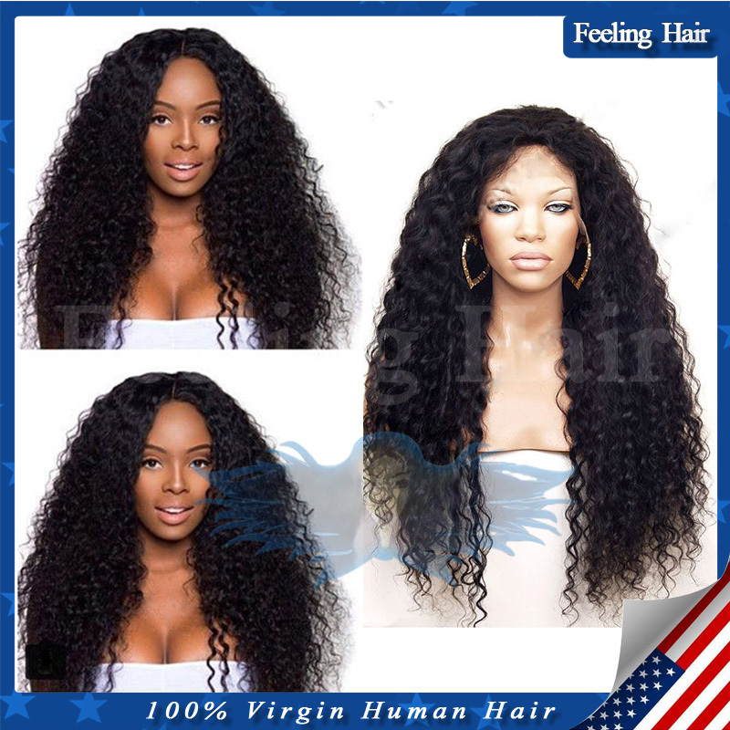 Brazilian Curly Full Lace Human Hair Wigs,Glueless Full Lace Wig 7A Unprocessed Virgin Human Hair Lace Front Wig For Black Women(China (Mainland))
