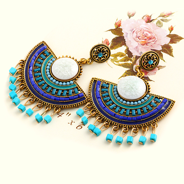 New Design Fashion Charm Vintage Bohemian beads earrings jewelry Alloy hollow flower Pendant drop earrings for women 2015 PD21(China (Mainland))