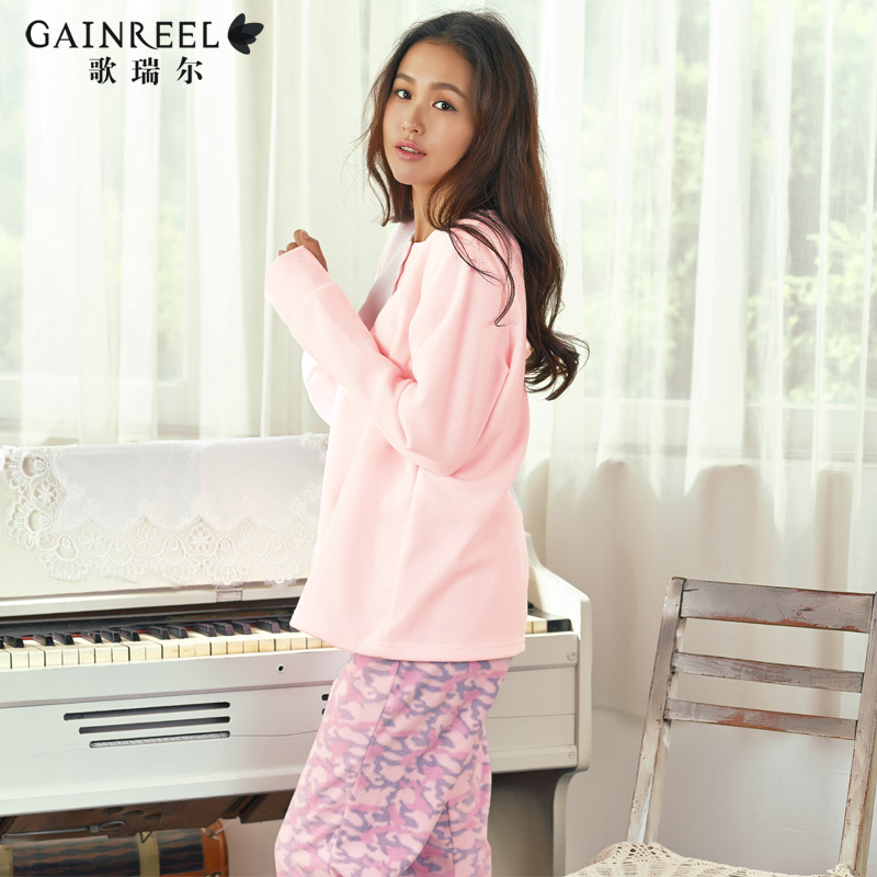 Song Riel autumn and winter cute girls long sleeve pajamas comfortable cozy fleece tracksuit suit small