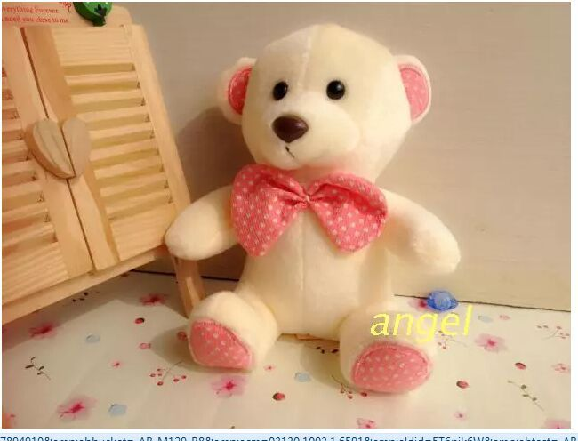 10 pieces small teddy bear toys lovely sitting pink teddy bear dolls with bow wedding gift about 20cm(China (Mainland))