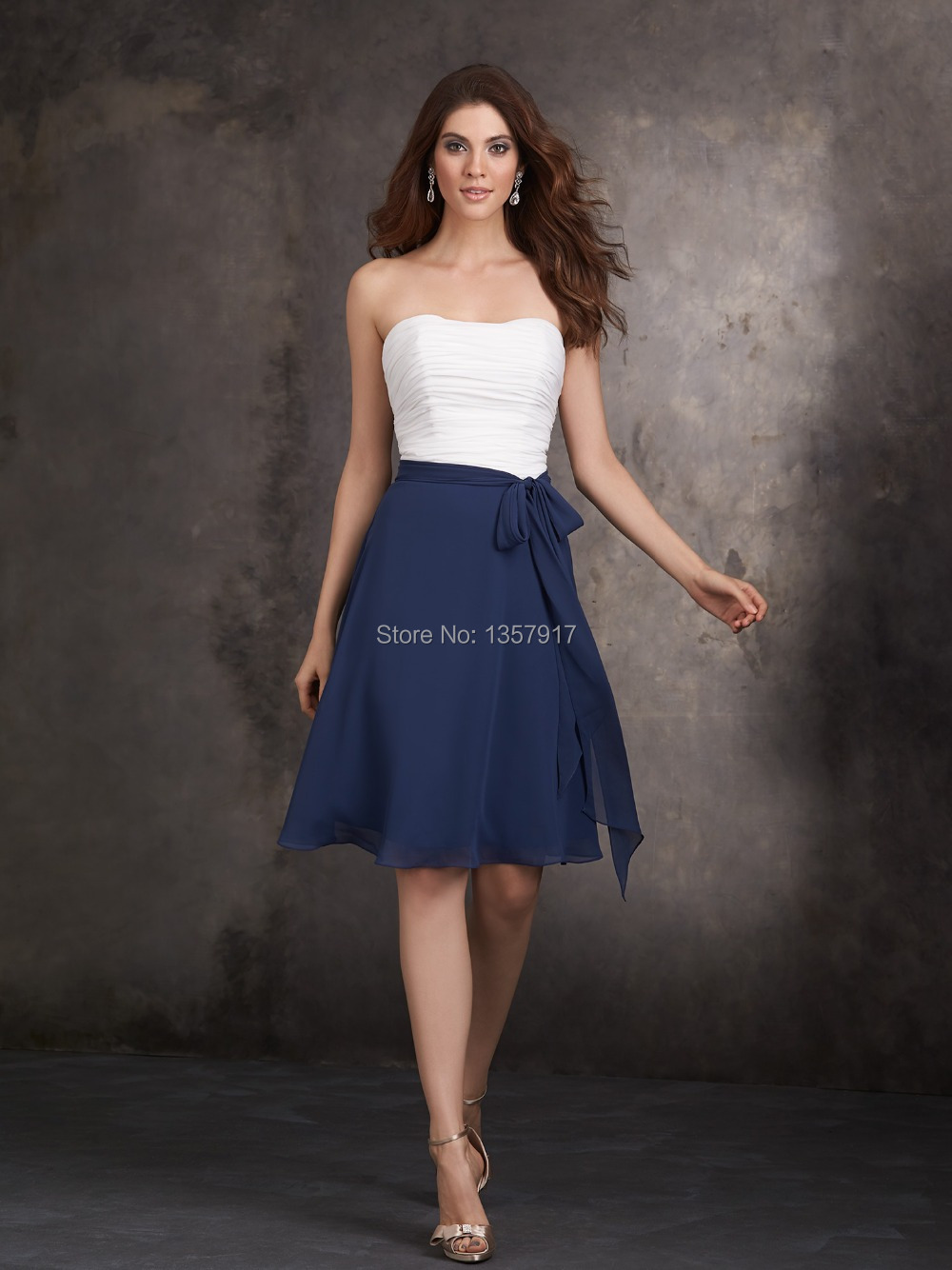 Navy Blue And White Dresses