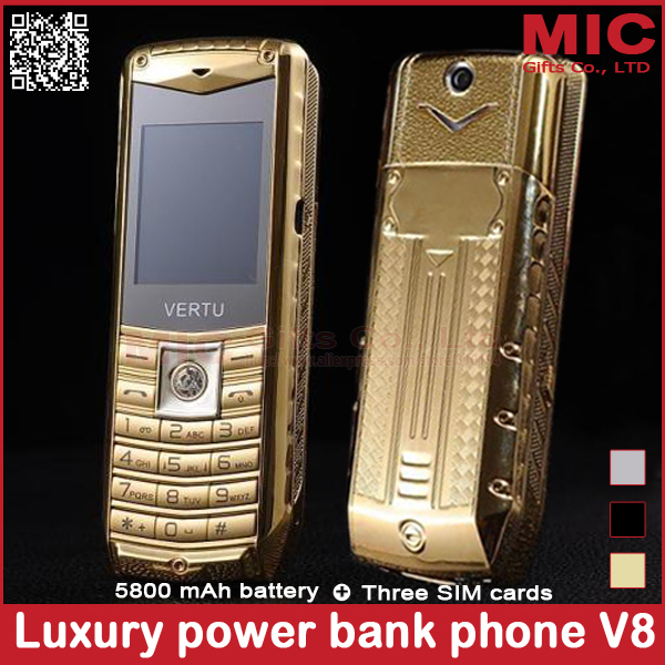 2014 luxury car mobile phone 3 SIM cards metal body 5800mAh power bank brand unlocked cell phones Russian Spanish Polish P226(China (Mainland))