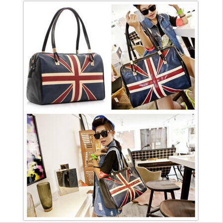Free Shipping Women's Retro UK British Flag Hobo Bag Tote ladies PU leather Shoulder Handbag(China (Mainland))