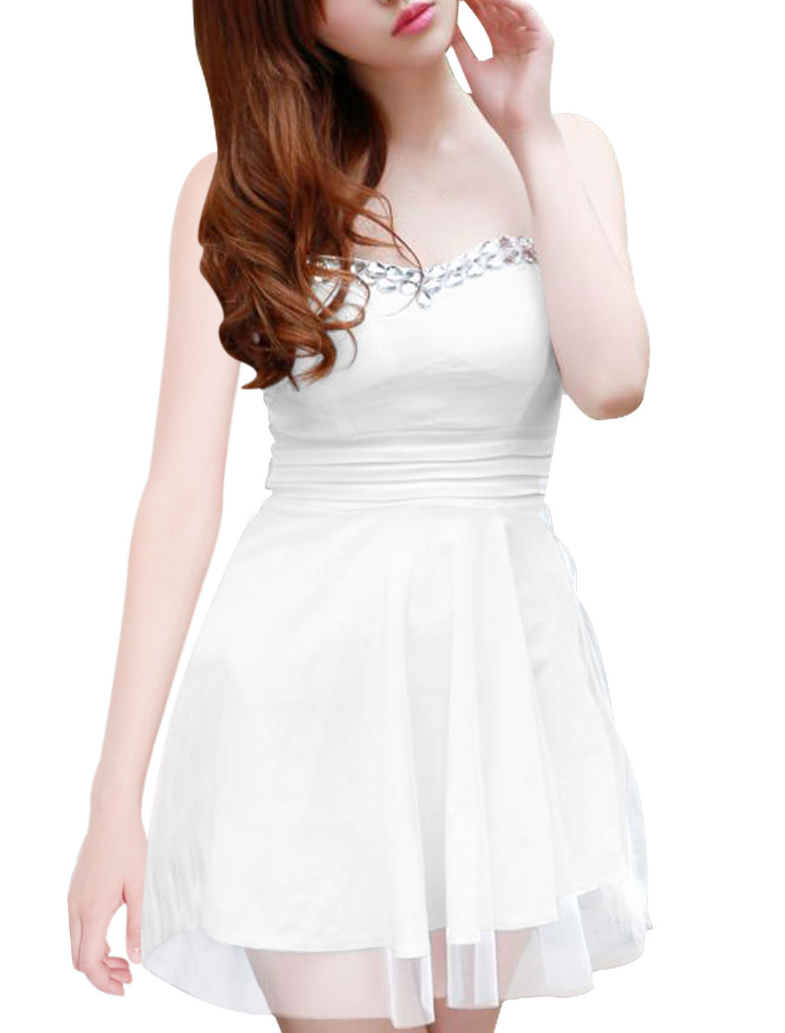 Allegra K Women Strapless Padded Shoulder Plastic Crystal Decor Mesh Overlay Tunic Top(China (Mainland))
