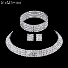 Classic Four Row Rhinestones Silver Necklace Earrings Bracelets Bridal Wedding Jewelry Sets TL299+SL116(China (Mainland))