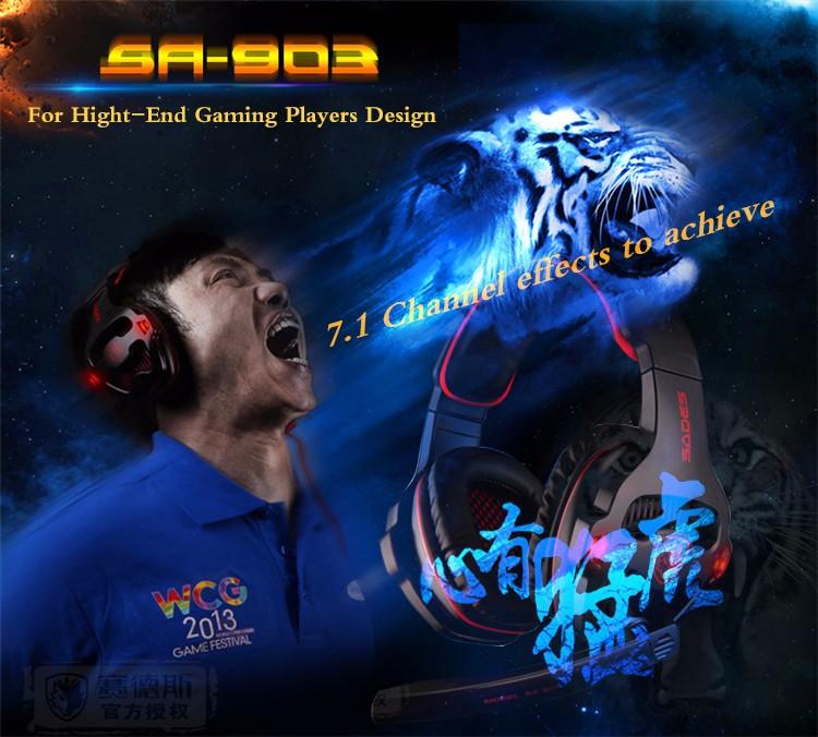 ถูก Sades SA-903หูฟังเล่นเกมเสียงรอบทิศทาง7.1ช่องUSBสายหูฟังที่มีการควบคุมระดับเสียงไมค์ที่ดีที่สุดc asqueสำหรับเกมเมอร์