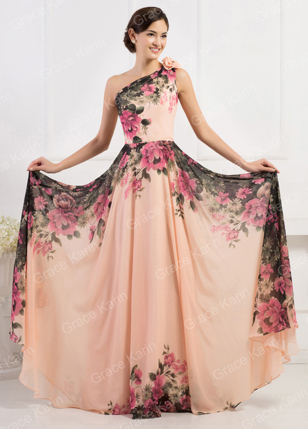 Grace Karin Retro Flower Printed Chiffon Long Formal Evening Dress