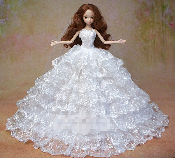 Handmde Guide work Pageant Presents For Ladies Present Doll Night Swimsuit White Wedding ceremony Gown Garments For Barbie 1:6 Doll BBI00270