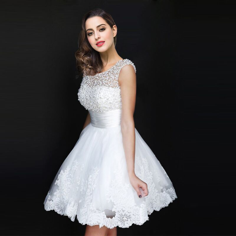 2016 A Line Pearls Beaded Lace Appliques Short Girl Cocktail Dresses 2016 Robe De Cocktail Summer Dress(China (Mainland))