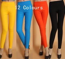 Hot Women Candy Color High Waist Pencil Pants Legging Slim Casual Workout Pants Lady Trousers Legging 12 Colors(China (Mainland))