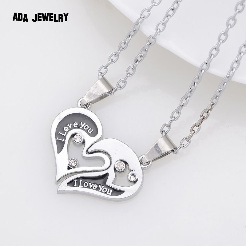 Wholesale Couple Lovers Necklaces & Pendants 316L Stainless Chain men Necklaces I Love U Double Heart Necklace Jewelry(China (Mainland))