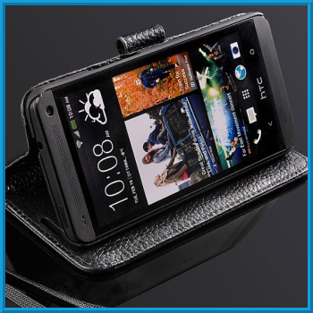 Cell Phone Genuine Leather Case For HTC ONE M7 Wallet Real Leather Flip Case Luxury For HTC ONE M7 Stand Case