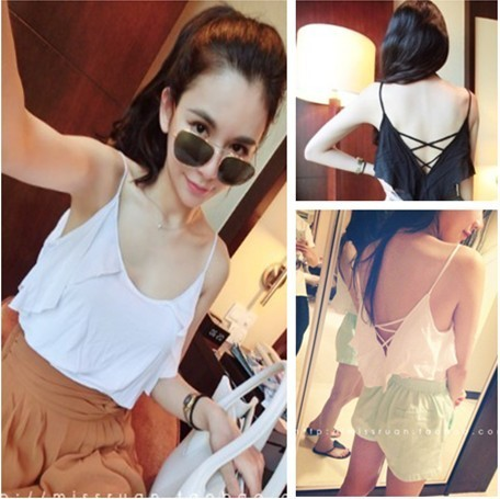 Fashion normic all-match beautiful strap racerback sleeve ruffle spaghetti strap small vest b 58