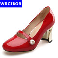 2017 Woman Genuine leather Sexy Thick Heels Round Toe high heeled shoes lady Fashion patent leather