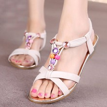 2016 Fashion Sandals Ladies Flat Shoes Clip Toe Women Slipper Summer Beaded Bohemian Sandals Beach Shoes zapatos mujer #25(China (Mainland))