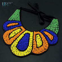 Fashion Elegant Nations Style Hand Made Collars Necklace Resin Multicolor Beads Pendants Women Jewelry With Delicate